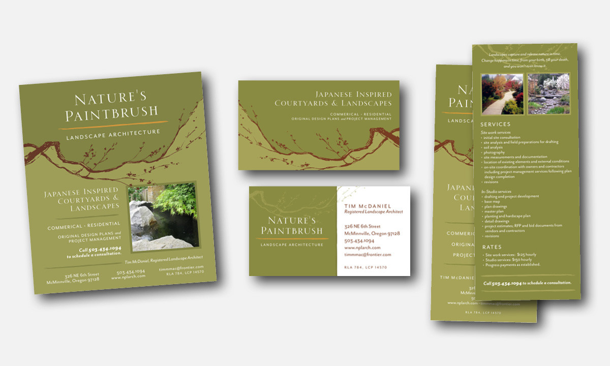 Marketing Materials for Nature's Paintbrush Landscape Architecture by 237 Marketing + Web
