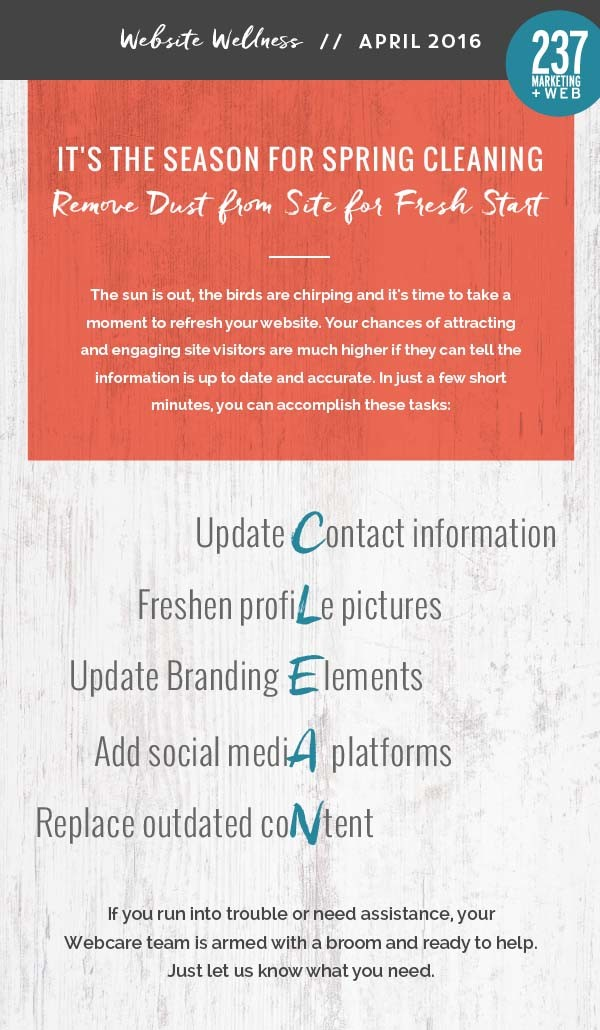 Spring CLEANing - Website Wellness • 237 Marketing + Web