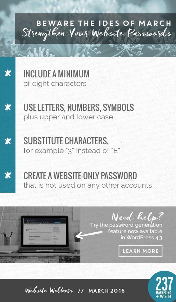 Strengthen Your Website Passwords - Website Wellness • 237 Marketing + Web