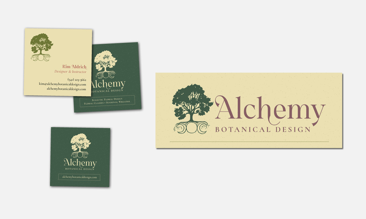 Alchemy Botanical Design business cards and banner by 237 Marketing + Web