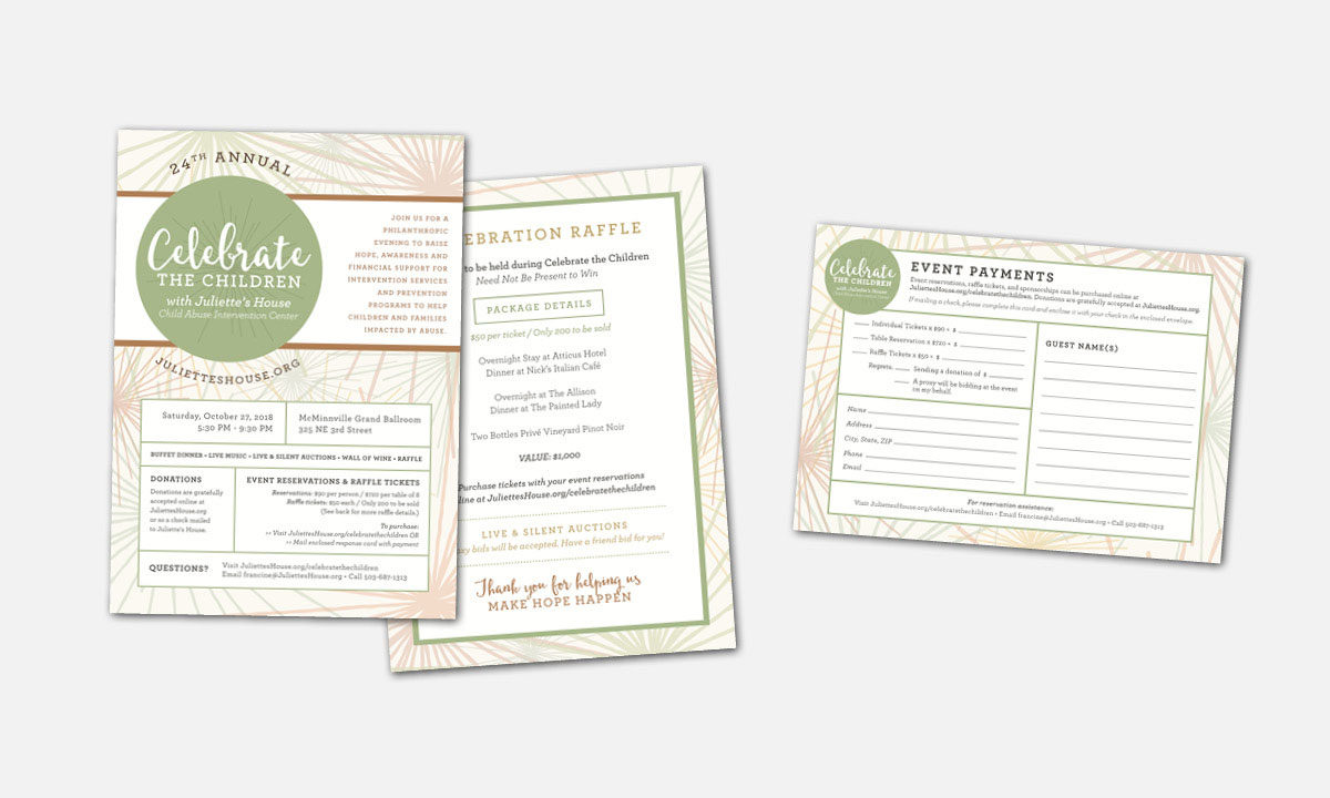 Juliette's House Celebrate the Children Fundraising Event Materials by 237 Marketing + Web